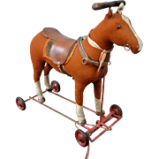 Astounding Condition Early Antique Steiff Horse on Wheels c. 1910-1927