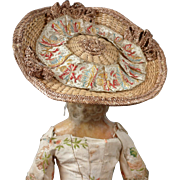 Outstanding 18th Century 'Chapeau Bergère' For Queen Anne, Wax Or Early Wooden Doll Circa 1760