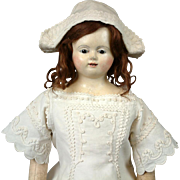 "Fabulous 27"" SMILING Papier Mache Child Doll with Glass Eyes~All Antique~ By Andreas Voit C. 1845"