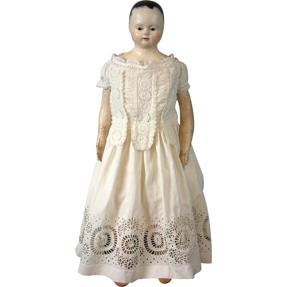Early c.1850-60 Antique Doll Or Child Dress with Frontal Lapettes and Endless Eyelet Lace