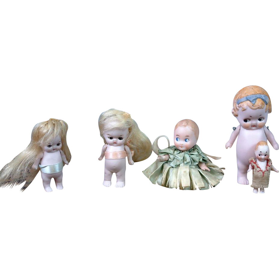 Lot of 5 All-Bisques Including Googlies and Glass-Eyed Dolls