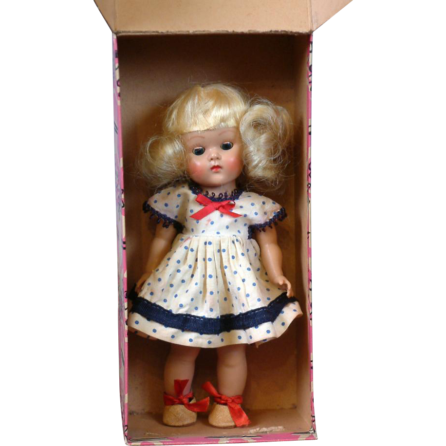 """Ginny"" by Vogue Dolls 7.5"" in Original Labeled Box with 5 Tagged Costumes!"