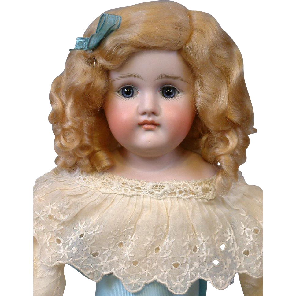 "Pouty Closed-Mouth Kestner 18"" on Original Body in Lacy Dress"