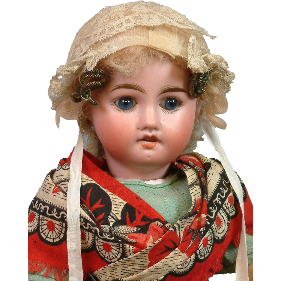 "All-Original 14"" German Bisque Doll with Blue Eyes in Original Antique Costume"