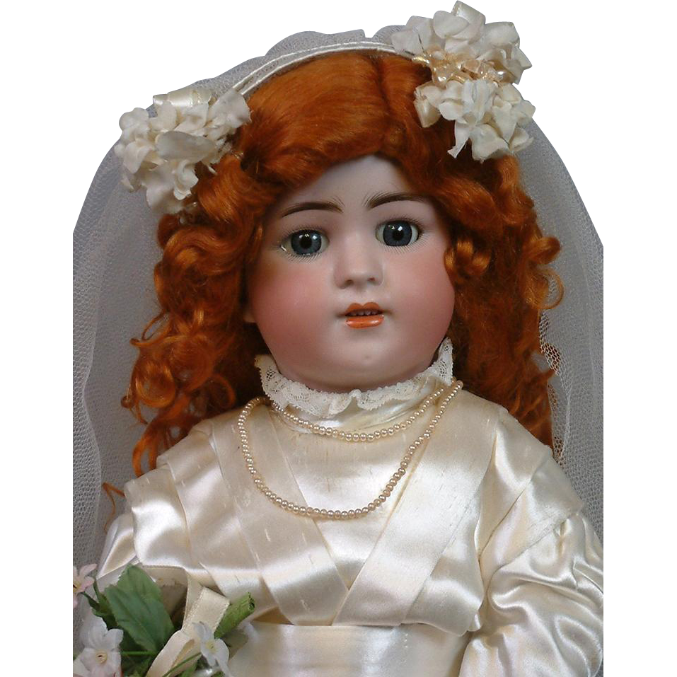 "*Blushing Bride* 22"" Simon & Halbig 550 Antique Doll in Silk Bridal Costume"