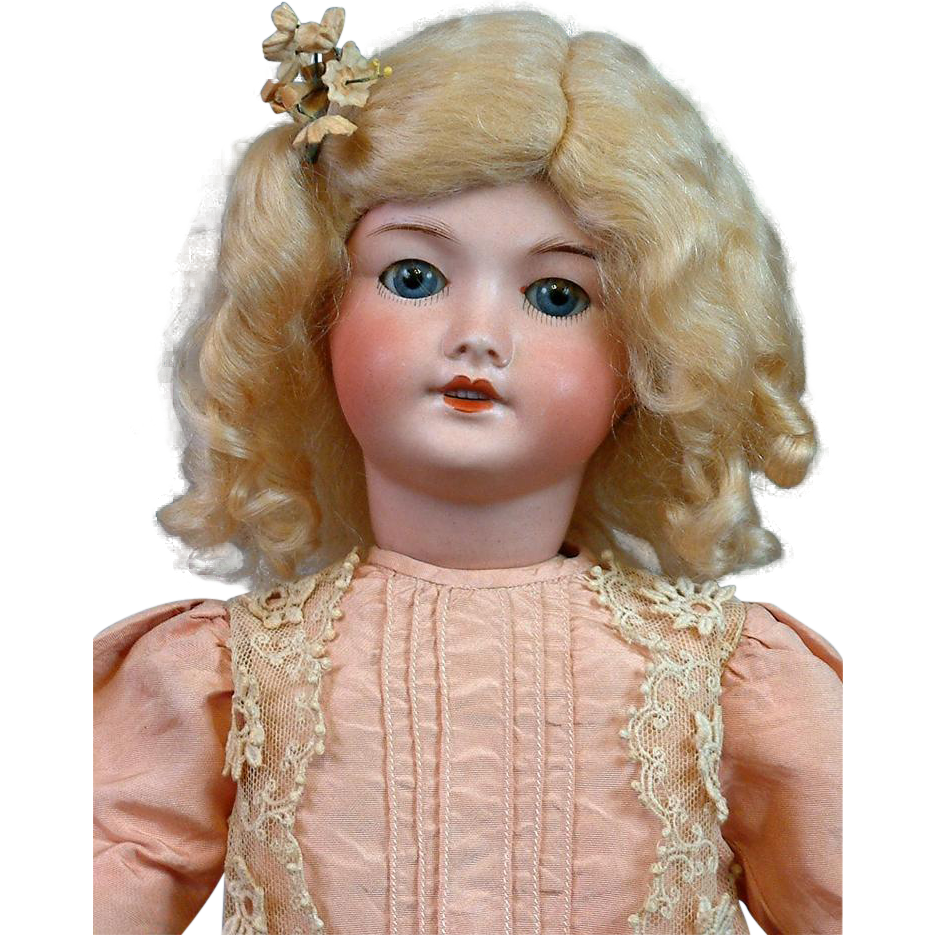 "*Darling* UNIS 301 Blue-Eyed Doll 17"" with Lovely Silk Dress"