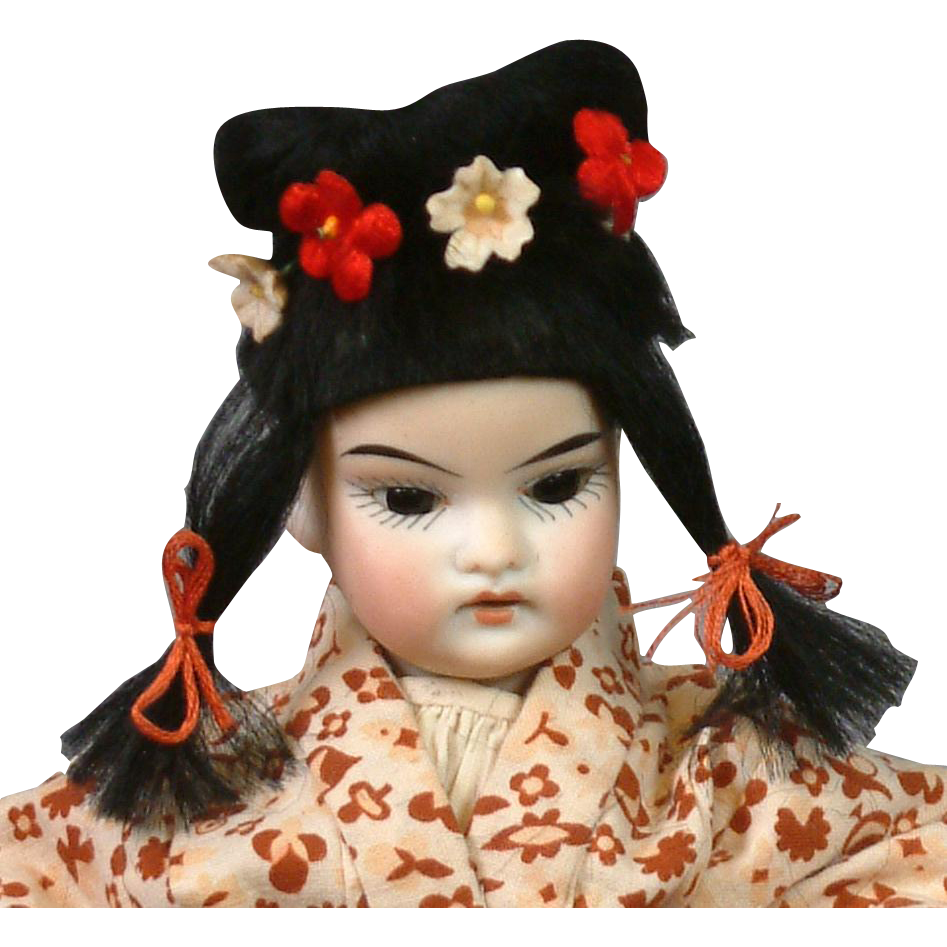 "10.5"" Oriental Child Doll circa 1895 Attributed to Schoenau & Hoffmeister in Antique Kimono"