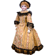 "18"" Smiling Poupee By Louis Doleac C. 1882 With Bisque Arms, Shop Label, Trunk & Original Silk Couture Costume"