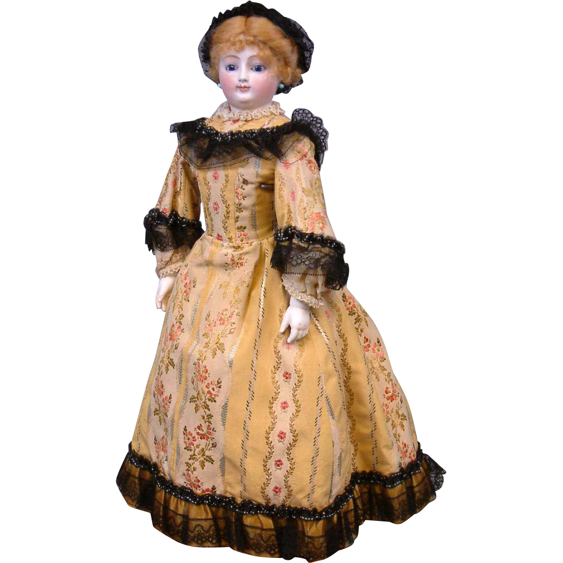 """18"""" Smiling Poupee By Louis Doleac C. 1882 With Bisque Arms, Shop Label, Trunk & Original Silk Couture Costume"""
