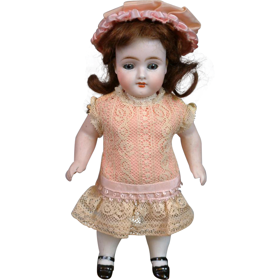 "Sweet and Sizable 7.25"" Kestner 329 All-Bisque Antique Doll with Chunky Body & Molded Socks"