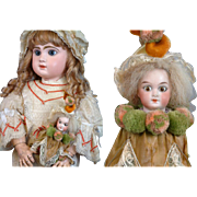 Adorable Original Limbach Bisque Doll Marotte in Silk Costume c. 1895-- French Market Treasure!