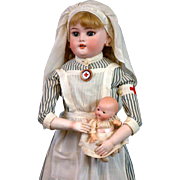 "24"" Simon & Halbig Dainty Dorothy mold 1080 in all Original NURSE Costume  of the WW1 Period"