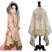 Superb C. 1865-75 Hand Made Lace Rectangle Shawl with Beaded & Silk Pom Trim For Fashion Doll