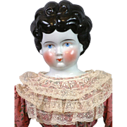 "20"" Sweet China Lady with Unusual Hairdo & Lovely Dress on Antique body"