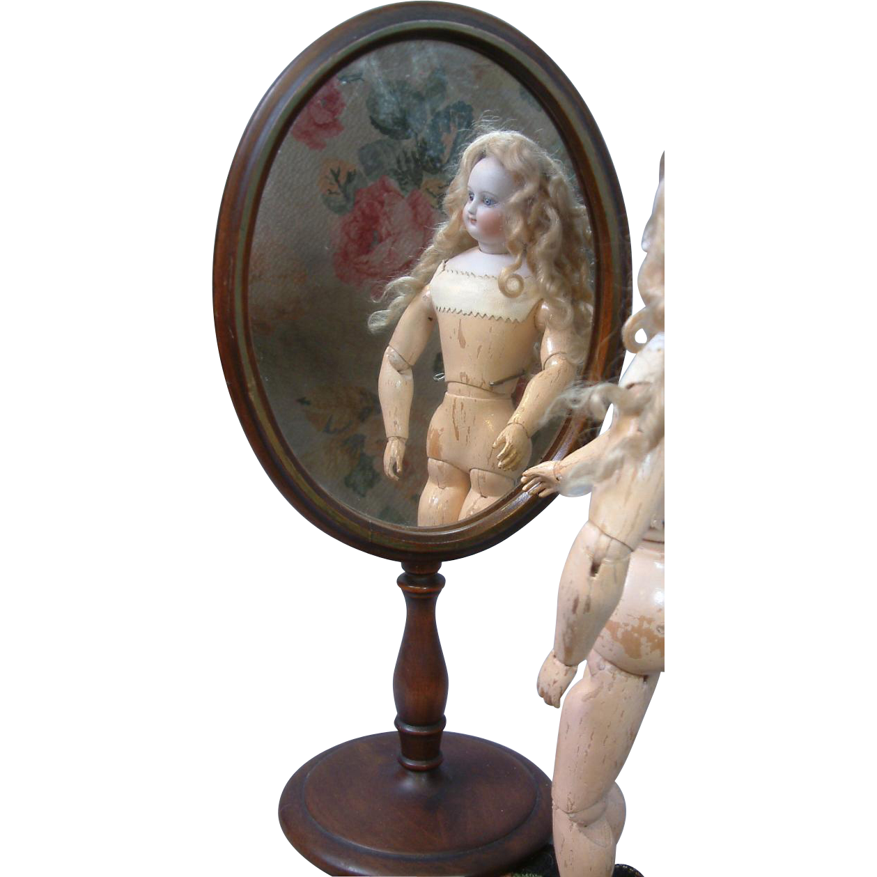 Superb Victorian Carved  Mahogany Psyche Mirror In Perfect Scale for Doll Display!
