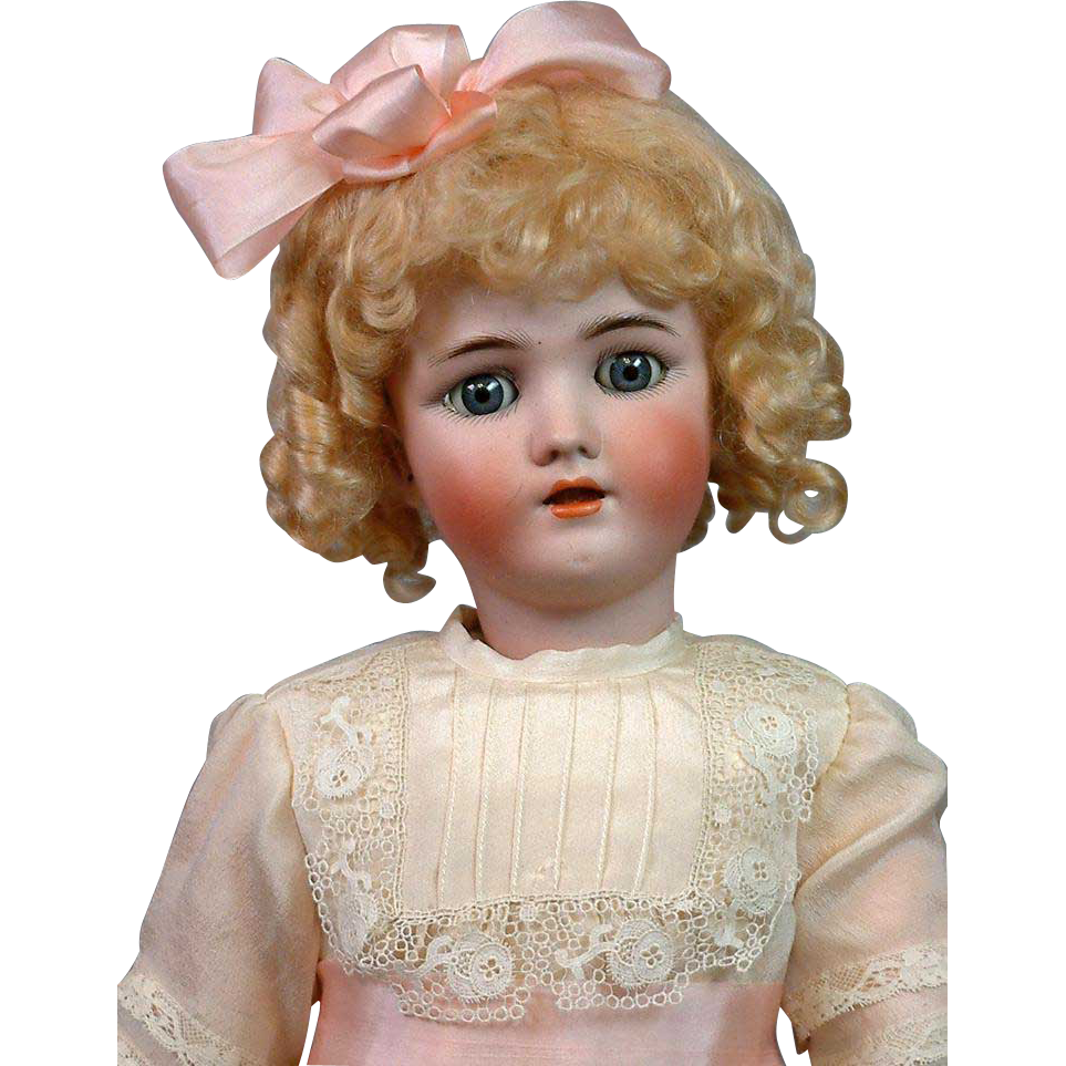"Darling 22.5"" Handwerck Halbig Antique Bisque Doll in Silk Dress!"