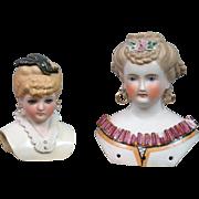 Beautiful Pair of Antique Parian Presentation Lady Heads -- Bargain Pair!