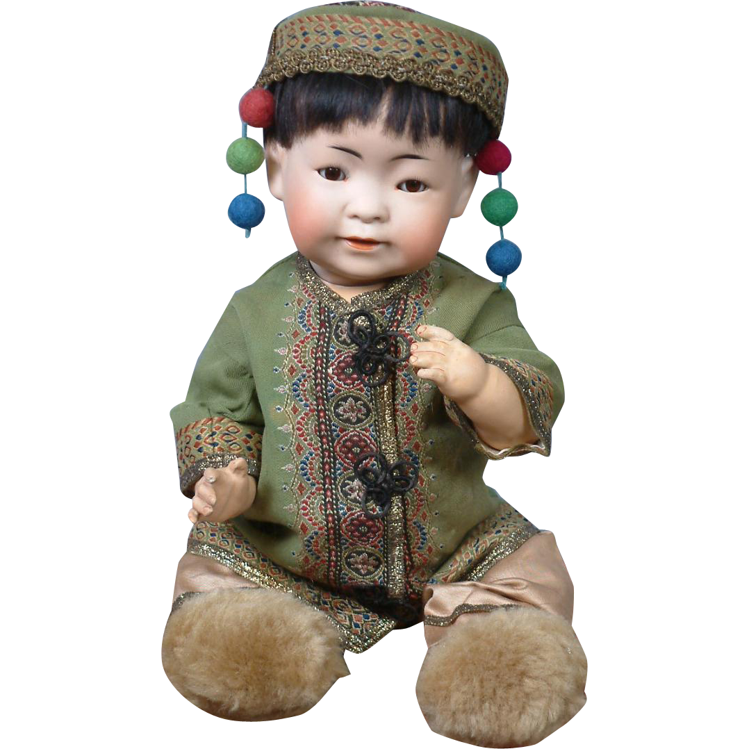 """PERFECT 16.5"""" Oriental Asian 243 Kestner Character Boy to Represent a Chinese Baby--He's Just Too CUTE!"""