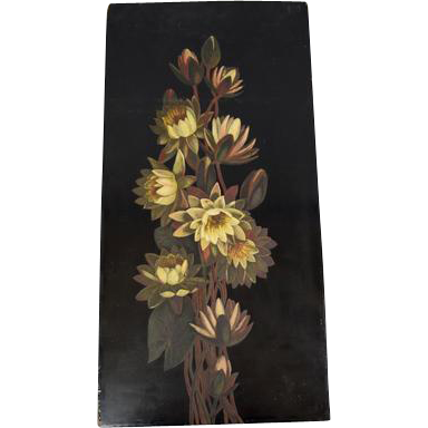 "Beautiful Antique 24X12"" Edwardian Oil Painting on Board of Twining Water Lilies circa 1910"