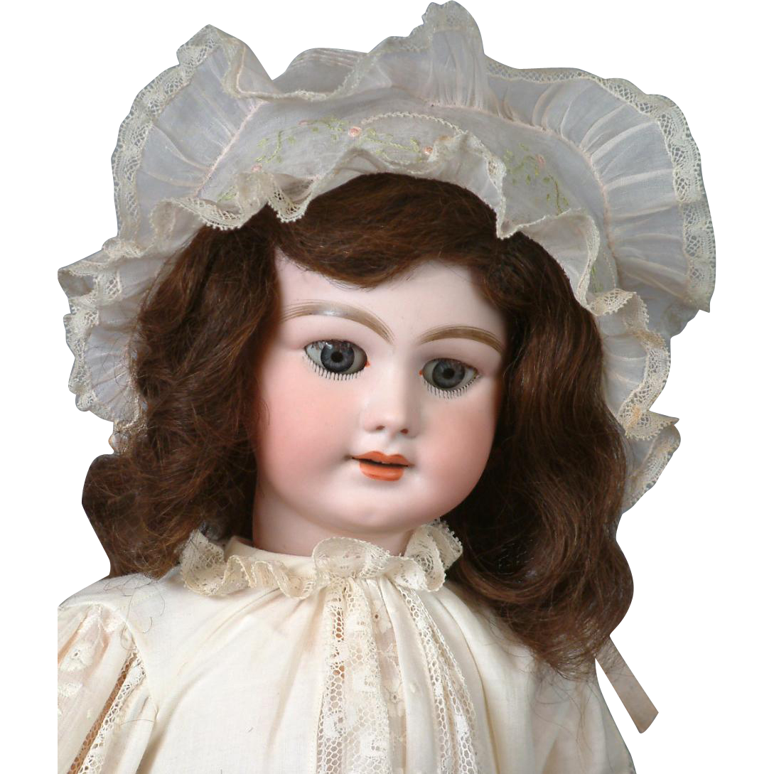 "23"" French DEP 10 Bebe in Wonderful Antique Whites With Frilly Antique Bonnet"