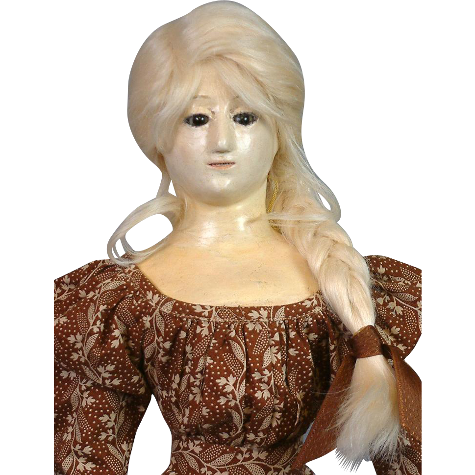 "Early French Antique 22.5"" Papier Mache Lady Doll c.1850 In Stunning Period Appropriate Gown!"