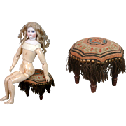 "Stunning Needlepoint ""Poof"" Stool For Enfantine Poupees Circa 1850"