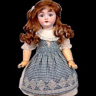 """Superb 17"""" Early 143 Mold Kestner Girl In Delightful Antique Costume On Excelsior Body"""