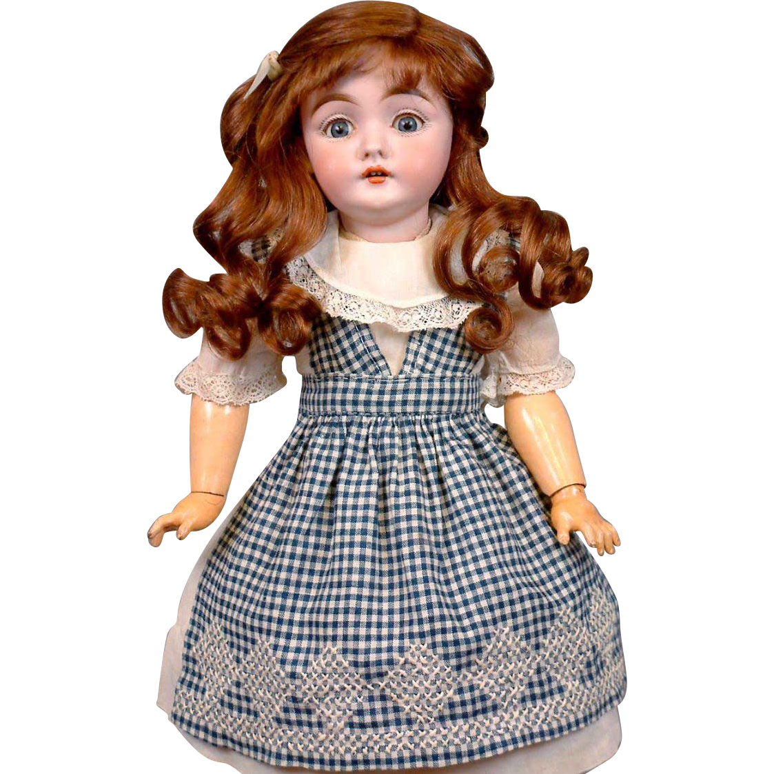 "Thank You JM Superb 17"" Early 143 Mold Kestner Girl In Delightful Antique Costume On Excelsior Body"