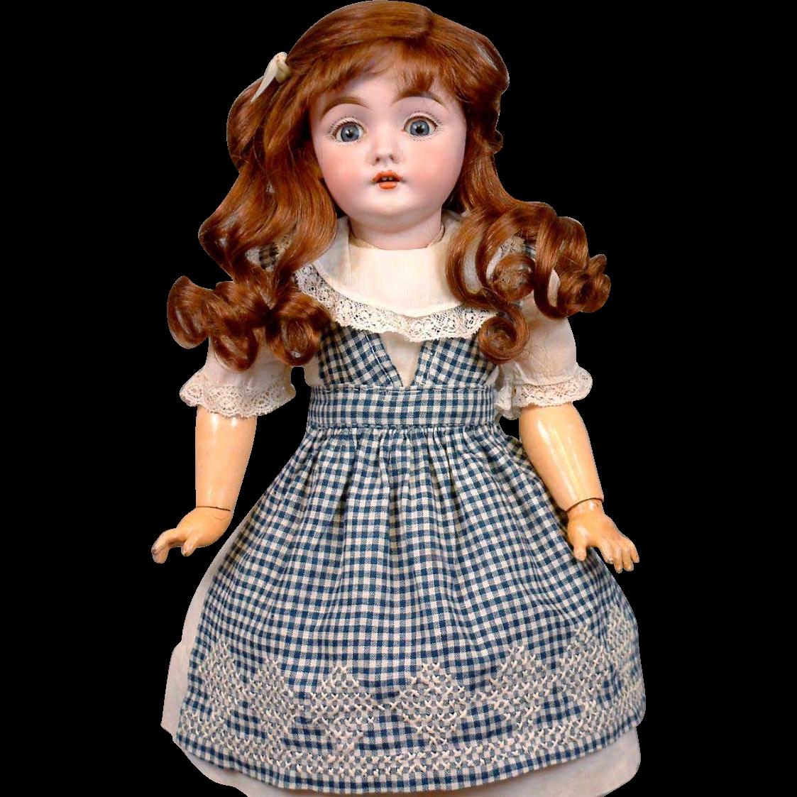 """Thank You JM Superb 17"""" Early 143 Mold Kestner Girl In Delightful Antique Costume On Excelsior Body"""