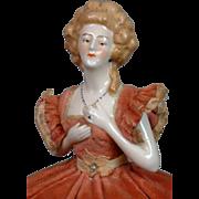 Factory-Original China Half Doll Lady c.1920 for Boudoir Decor