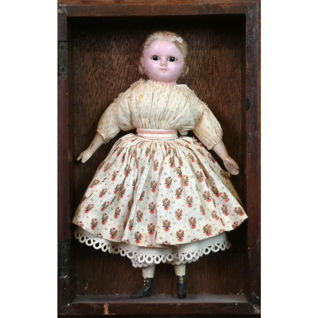 """Precious 9"""" Wax Over Papier Mache Little Alice With Milliner's Model Body All Original In Presentation Box"""