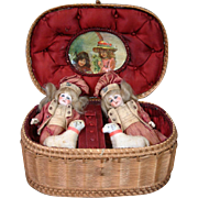 "Outstanding 5"" Pair of Antique French Mignonette Dolls In Silk Presentation Box with Toy Sheep!"