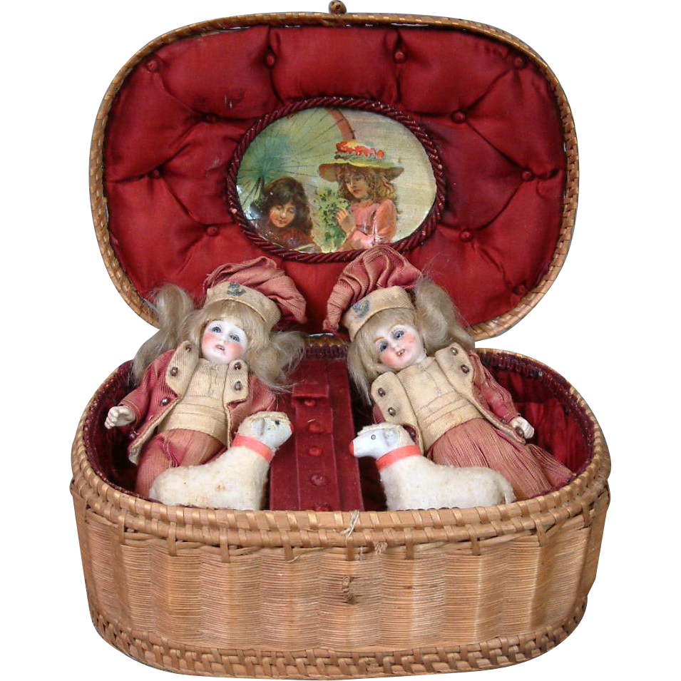 Outstanding Pair of Antique French Mignonette Dolls In Silk Presentation Box with Toy Sheep!