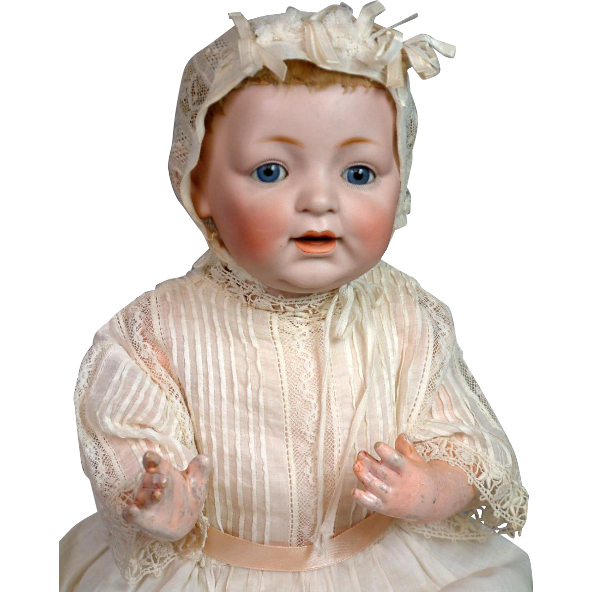 "RARE 17.5"" Kestner 211 ""Sammy"" Antique Character Baby with Desirable Mohair Skin Wig"