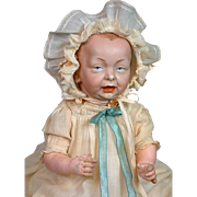 """Delightful 15.5"""" K&R """"Kaiser"""" Antique Character Baby Doll w/Rare Strawberry Hair"""