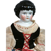 "Rare Size 17.5"" Highland Mary Antique China Doll All-Original with Five-Buttoned Molded Boots"