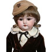 "The Delightful 14"" Kestner 143 Antique Bisque Boy in Velvet Costume"