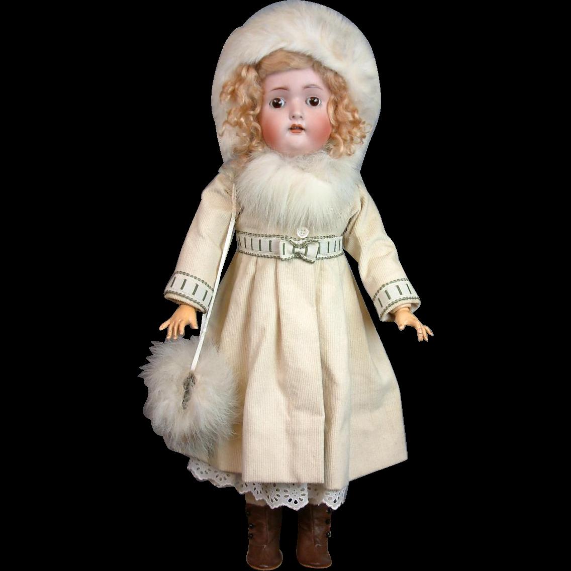 """*Winter Wonderland* Hertel & Schwabb 136 21.5"""" Antique Doll"""