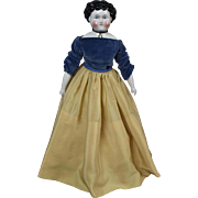 "Amazing 17.5"" Antique German China Lady Doll as Snow White"