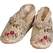 Museum Deaccessioned 1850's Embroidered Silk Slippers For Large Doll or Child