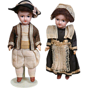 Precious French UNIS 301 All-Bisque Boy and Girl Pair of Antique Dolls -- All Original!