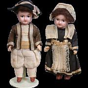 Precious French UNIS 301 Boy and Girl Pair of Antique Dolls -- All Original!