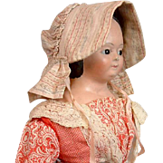 Early American Poke Bonnet For China, Papier Mache or Cloth Doll C. 1850
