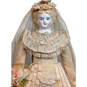 "All-Original 13"" Bridal Costume Antique China Lady"