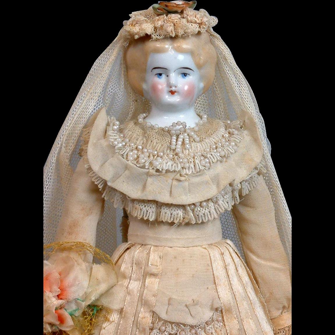 "All-Original 13"" Bridal Costume Antique China Lady"