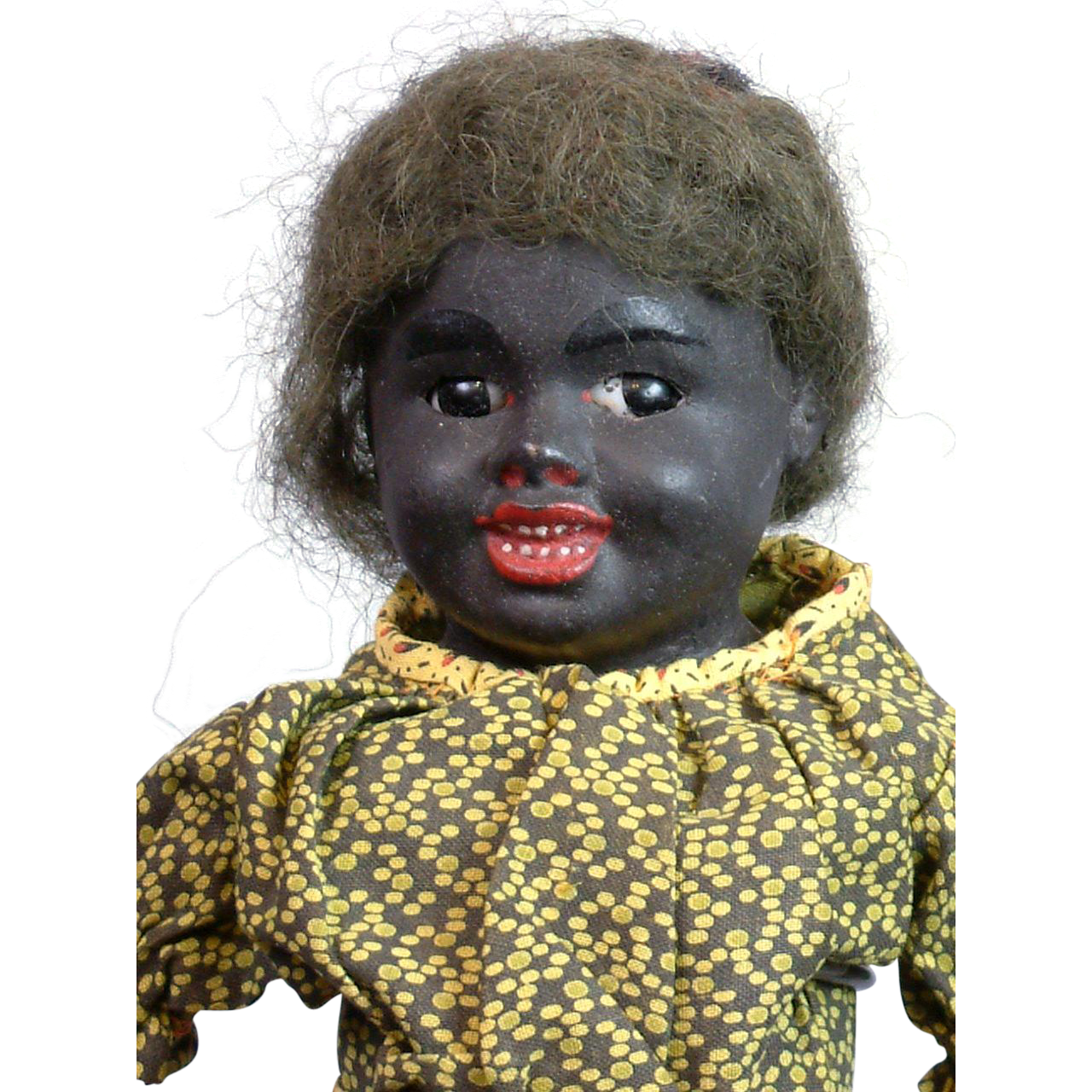 Rare All-Original c.1890-1900 Black Papier Mache Antique Character Doll 14.5""
