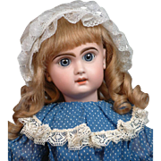 """22.5"""" French Tete Jumeau Bebe with Large Blue Paperweight/Sleep Eyes"""