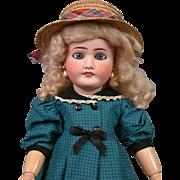 "Darling 22.5"" Antique French Lanternier Limoges Doll in Blue"