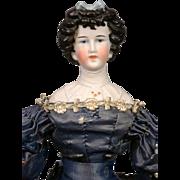"Antique Parian Limbach Porzellanfabrik Lady Doll with High Collar 21"""