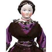 """Lovely Antique China Lady 17.5"""" in Purple Silk Ensemble with Black Lace"""